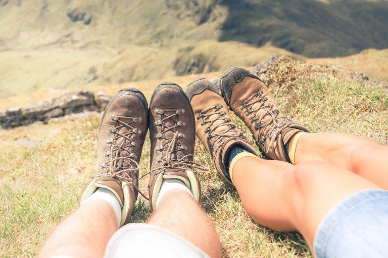 walkers in scotland resting their feet